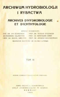 Archiwum Hydrobiologji i Rybactwa, Tom VI