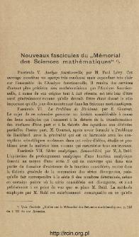 """Nouveaux fascicules du """"Mémorial des Sciences mathématiques"""""""