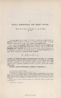 Sulla resistenza dei mezzi fluidi. « Rend. Acc. Lincei », s. 5ª, vol. X (2˚ sem. 1901), pp. 3-9