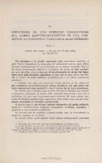 Influenza di uno schermo conduttore sul campo elettromagnetico di una corrente alternata parallela allo schermo: NOTA I. « Rend. Acc. Lincei », s. 5ª, vol. XI ( 1˚ sem. 1902), pp. 163-170