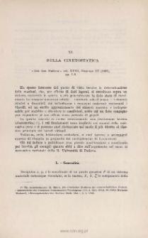 Sulla cinetostatica. « Atti Acc. Padova », vol. XVIII, disp. III (1902), pp. 1-8