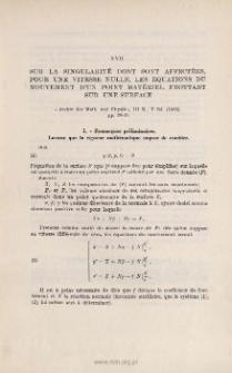 Sur la singularité dont sont affectées, pour une vitesse nulle, les équations du mouvement d'un point matériel frottant sur une surface. « Archiv der Math. und Physik », III R., V bd. (1903), pp. 28-37