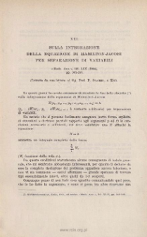 Sulla integrazione della equazione di HAMILTON-JACOBI per separazione di variabili. « Math. Ann. », Bd. LIX (1904), pp. 383-397