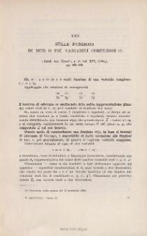Sulle funzioni di due o piu variabili complesse. « Rend. Acc. Lincei », s. 5ª, vol. XIV (2˚sem. 1905), pp. 492-499