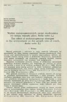 Wpływ antropogenicznych zmian środowiska na tempo wzrostu płoci, Rutilus rutilus (L.)