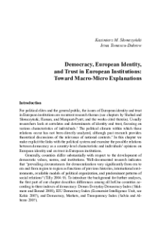 Democracy, European Identity, and Trust in European Institutions:  Toward Macro-Micro Explanations