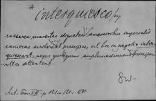 Kartoteka Słownika Łaciny Średniowiecznej; interquiesco - introitus