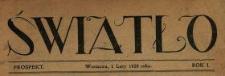 Światło : tygodnik ilustrowany literacki, artystyczny, społeczno-polityczny, popularno-naukowy 1920 N.1