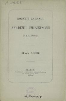 Rocznik Zarządu Akademii Umiejętności w Krakowie, Rok 1883