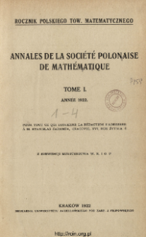 Annales de la Société Polonaise de Mathématique T. 1 (1922), Table of contents and extras