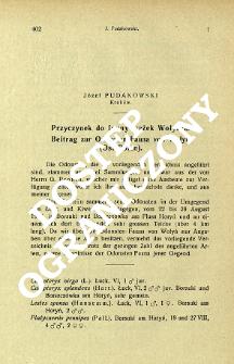 Przyczynek do fauny ważek Wołynia = Beitrag zur Odonaten-Fauna von Wołyń