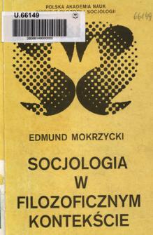 Socjologia w filozoficznym kontekście