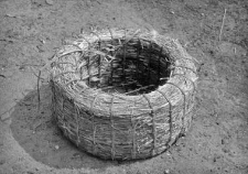 A straw container for laying eggs
