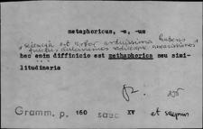 Kartoteka Słownika Łaciny Średniowiecznej; metaphoricus - minstratus
