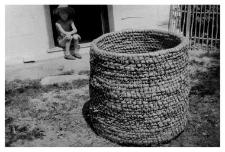 A straw basket for grain