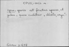 Kartoteka Słownika Łaciny Średniowiecznej; opus - ordo