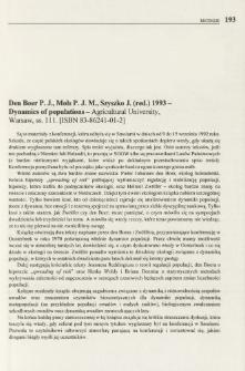 Den Boer P. J., Mols P. J. M., Szyszko J. (red.) 1993 - Dynamics of populations - Agricultural University, Warsaw, s. 111. [ISBN 83-86241-01-2]
