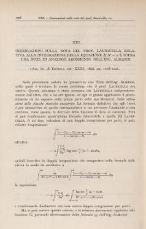 Osservazioni sulla Nota del Prof. Lauricella relativa alla integrazione della equazione [Delta]2 [Delta]2 = 0 e sopra una Nota di analogo argomento dell'Ing. Almansi