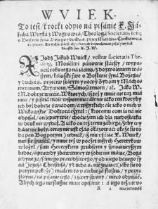 Wujek, To jest krótki odpis na pisanie X. Jakuba Wujka z Węgrowca / Theologa Societatis Iesus: O Bóstwie Syna Bożego y Ducha św.