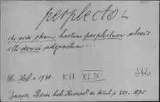 Kartoteka Słownika Łaciny Średniowiecznej; perplecto - pertingibilis