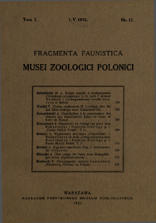 Fragmenta Faunistica Musei Zoologici Polonici ; t. 1 nr 11