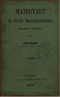 Materyały do fauny malakologicznej Królestwa Polskiego