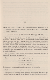 Note on the theory of simultaneous linear differential or difference equations with constant coefficients