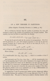 On a new theorem in partitions