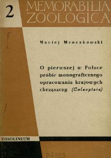O pierwszej w Polsce próbie monograficznego opracowania krajowych chrząszczy (Coleoptera)