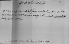 Kartoteka Słownika Łaciny Średniowiecznej; quantitas - querelosus