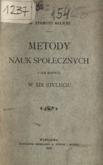 Metody nauk spolecznych i ich rozwój w XIX stuleciu