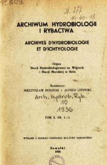 Archiwum Hydrobiologji i Rybactwa, Tom X Nr 1-3
