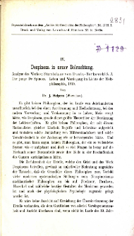 Despinoza in neuer Beleuchtung : analyse der Werkes : Stanislaus von Dunin-Borkowski S. J. : der junge De Spinoza : Leben und Werdegang im Lichte der Weltphilosophie, 1910