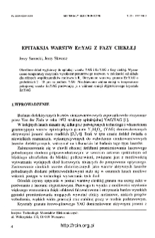 Epitaksja warstw Er:YAG z fazy ciekłej = The liquid phase epitaxy of Er:YAG layers