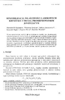 Sensybilizacja właściwości laserowych kryształu CTH:YAG promieniowaniem jonizującym