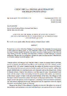 """A review of the book """"Reading beyond the female: The relationship between perception of author gender and literary quality"""""""