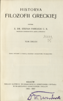Historya filozofii greckiej. t 2, cz. 2