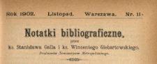 Notatki Bibliograficzne 1902 N.11