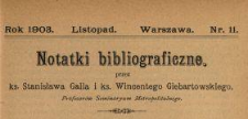 Notatki Bibliograficzne 1903 N.11