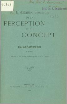 Sur la définition descriptive de la perception et du concept