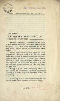 Materyały sfragistyczne : pieczęcie żydowskie