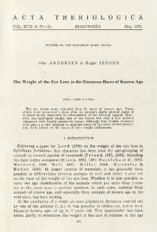 Studies on the European hare. XXVIII. The weight of the eye lens in the European hares of known age