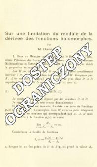 Sur une limitation du module de la dérivée des fonctions holomorphes