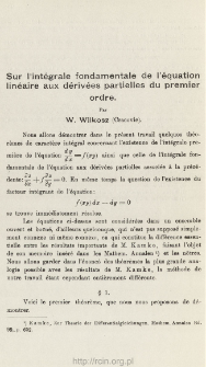 Sur l'intégrale fondamentale de l'équation linéaire aux dérivées partielles du premier ordre