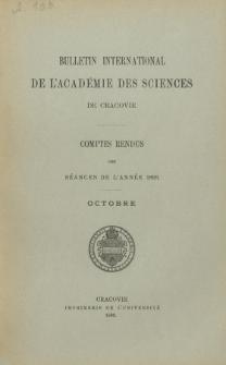 Bulletin International de L' Académie des Sciences de Cracovie : comptes rendus (1893) No.8 Octobre