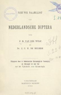 Nieuwe naamlijst van Nederlandsche Diptera