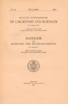 Bulletin International de L'Académie des Science de Cracovie : Classe de Philologie : Classe d'Histoire et de Philosophie No. 10 Décembre (1903)