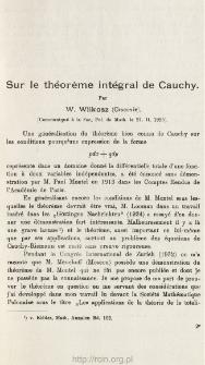 Sur le théorème intégral de Cauchy