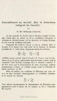 """Complément au travail """"Sur le théorème intégral de Cauchy"""""""