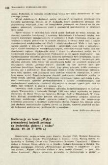 """Konferencja na temat """"Wpływ przemysłowej hodowli zwierząt na środowisko glebowe i wodne"""" (Kalsk, 19-20 V 1978 r.)"""
